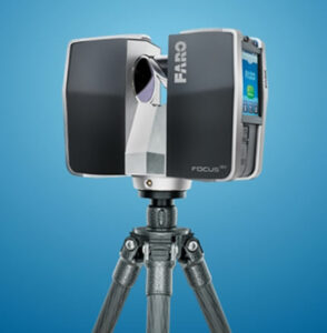 A photo of a Faro Focus 3D scanner on a blue studio background.