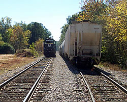 train cars on a track