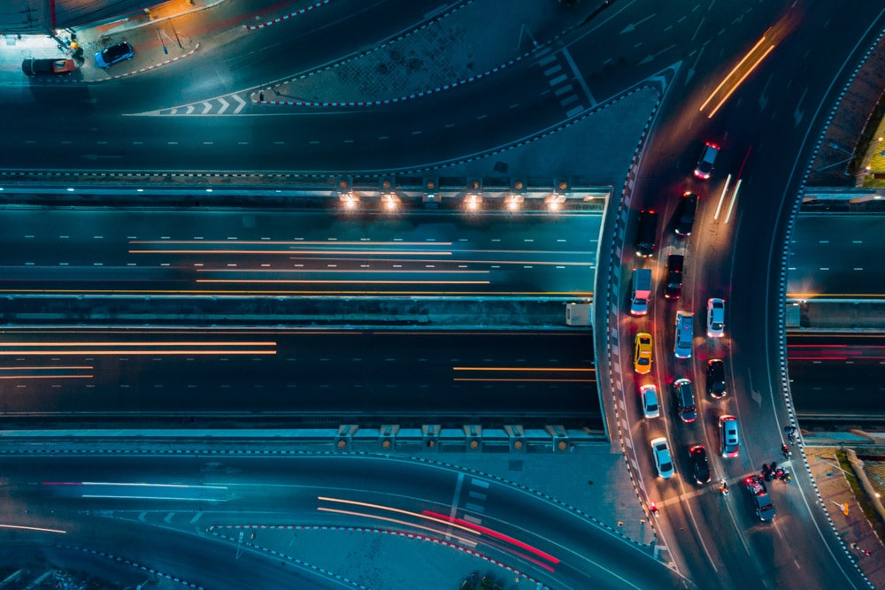 overhead shot of a busy highway at night